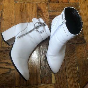 Steven white double zipper boots